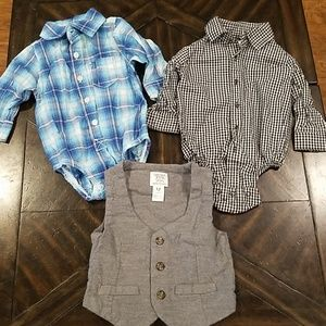 Boys 12 month button up shirts and vest